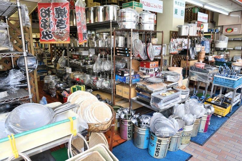 Kappabashi Street, Tokyo. TOKYO, JAPAN - DECEMBER 4, 2016: Specialist cooking supplies store in Kappabashi area of Asakusa in Tokyo. Kappabashi Street is known royalty free stock image