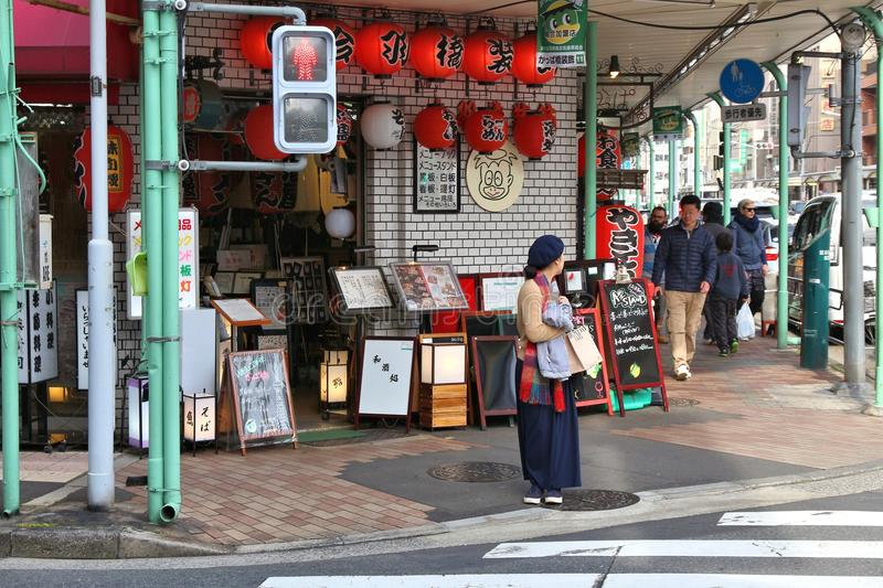 Kappabashi, Tokyo. TOKYO, JAPAN - DECEMBER 4, 2016: People visit Kappabashi area of Asakusa in Tokyo, Japan. Kappabashi Street is known for its multiple stores royalty free stock image
