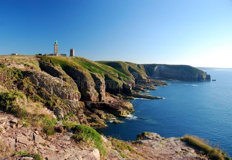 Kappe Frehel - Leuchtturm Bretagne lizenzfreie stockbilder