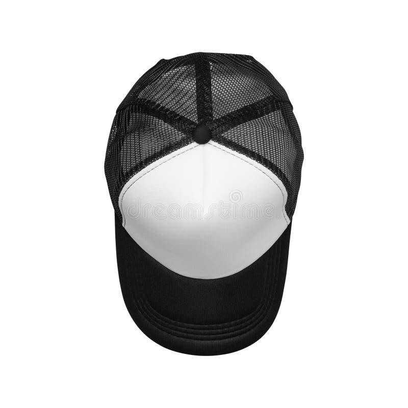 Kappen mit den schwarzen Netzen lokalisiert auf weißem Hintergrund Spitzenblickwinkel der Baseballmütze ?ber Wei? lizenzfreie abbildung