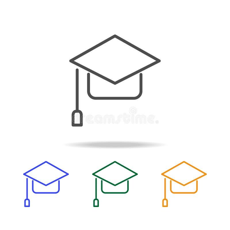 Kappenikonen des Studenten Element von edecation für bewegliche Konzept und Netz apps Dünne Linie Ikone für Websitedesign und Ent stock abbildung