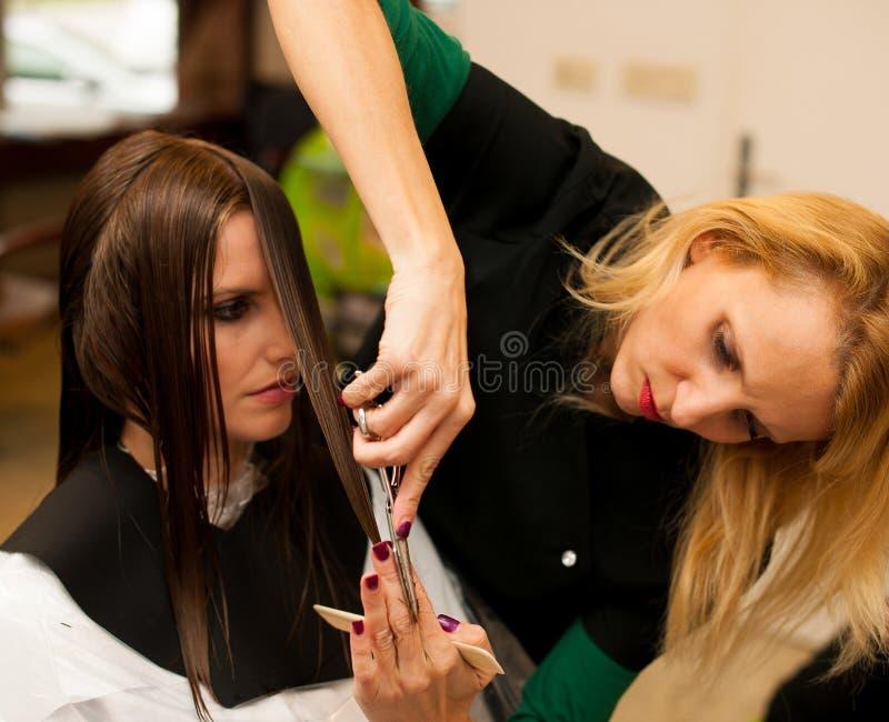 Kapper die haar tot behandeling maken aan een klant in salon stock fotografie