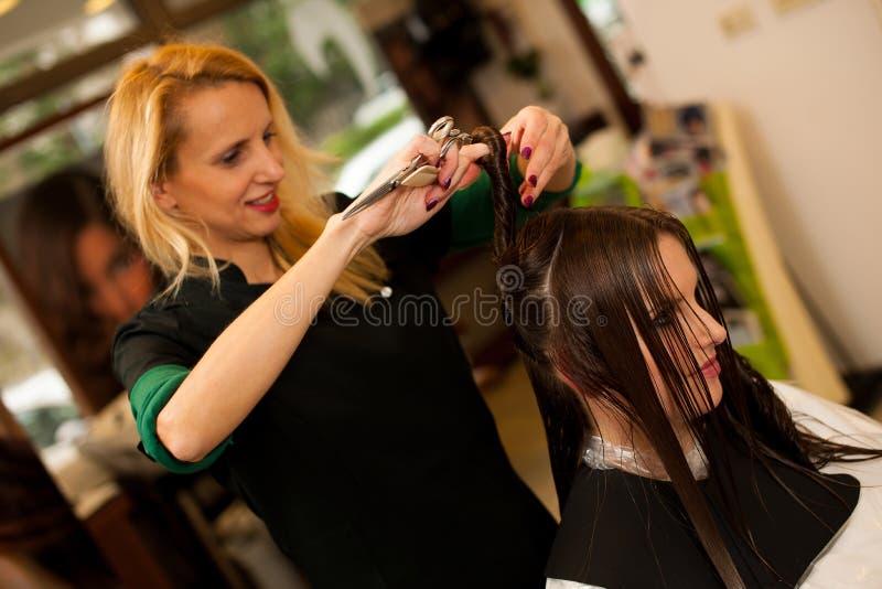 Kapper die haar tot behandeling maken aan een klant in salon stock foto's