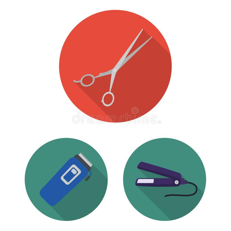 Kapper en hulpmiddelen vlakke pictogrammen in vastgestelde inzameling voor ontwerp Web van de het symboolvoorraad van de beroepsk stock illustratie