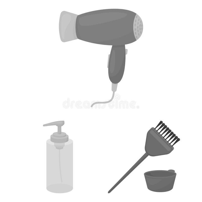 Kapper en hulpmiddelen zwart-wit pictogrammen in vastgestelde inzameling voor ontwerp Web van de het symboolvoorraad van de beroe stock illustratie