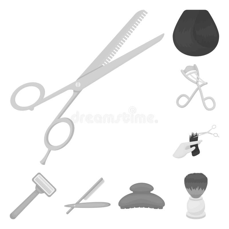 Kapper en hulpmiddelen zwart-wit pictogrammen in vastgestelde inzameling voor ontwerp Web van de het symboolvoorraad van de beroe vector illustratie