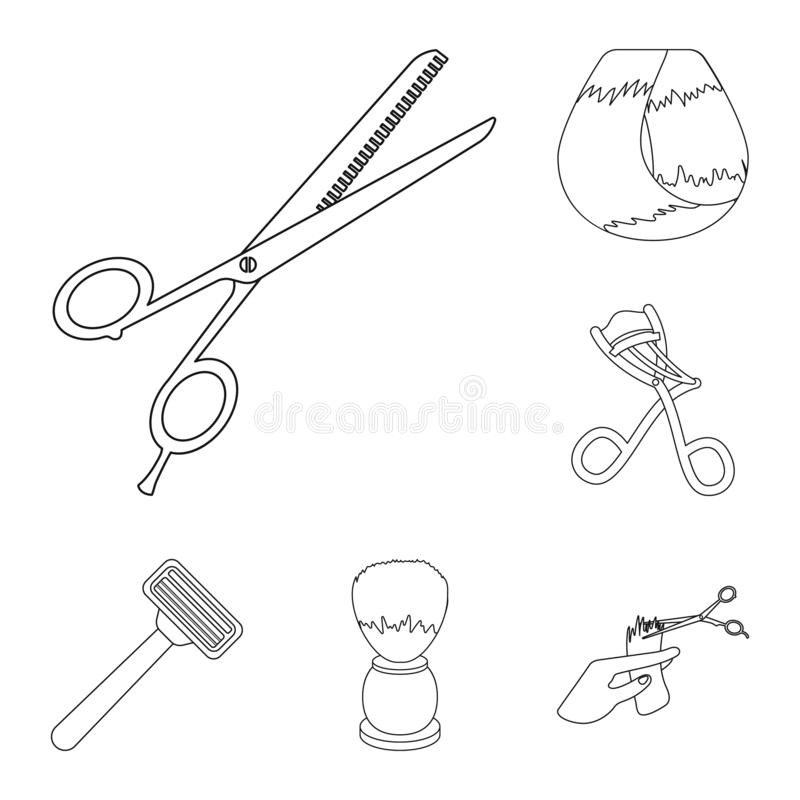 Kapper en van het hulpmiddelenoverzicht pictogrammen in vastgestelde inzameling voor ontwerp Web van de het symboolvoorraad van d royalty-vrije illustratie