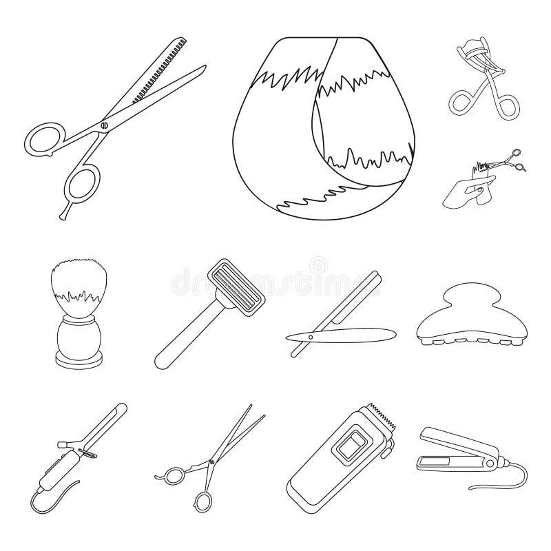 Kapper en van het hulpmiddelenoverzicht pictogrammen in vastgestelde inzameling voor ontwerp Web van de het symboolvoorraad van d stock illustratie