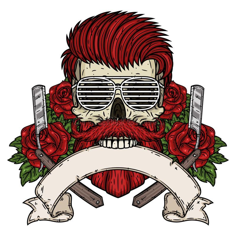 Kappersschedel Hipsterschedel met kappersblad, rozen en lint voor uw tekst Illustratie voor herenkapper stock illustratie