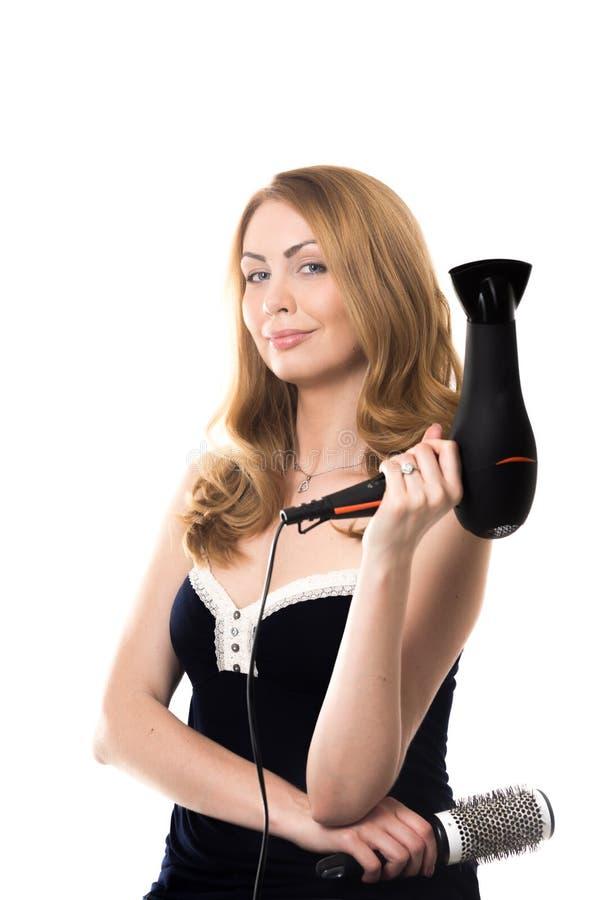 Kappervrouw die op klant wachten royalty-vrije stock foto