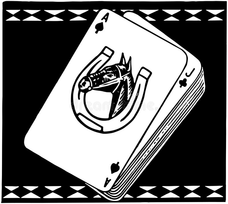 Kapplöpningshäst som spelar kort stock illustrationer