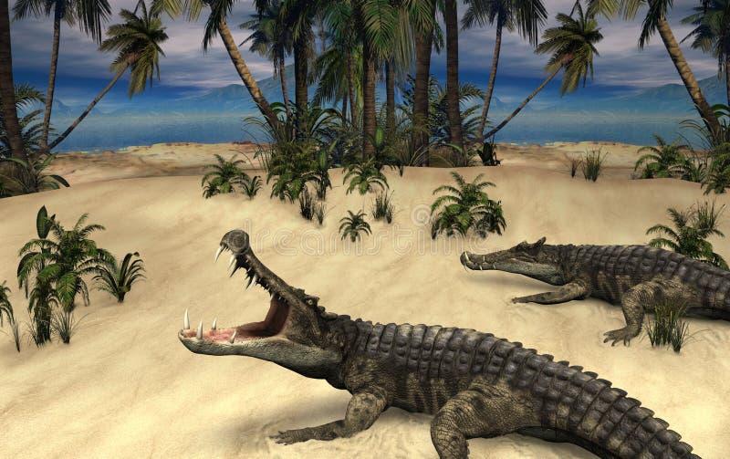 Kaprosuchus - доисторические крокодилы иллюстрация вектора