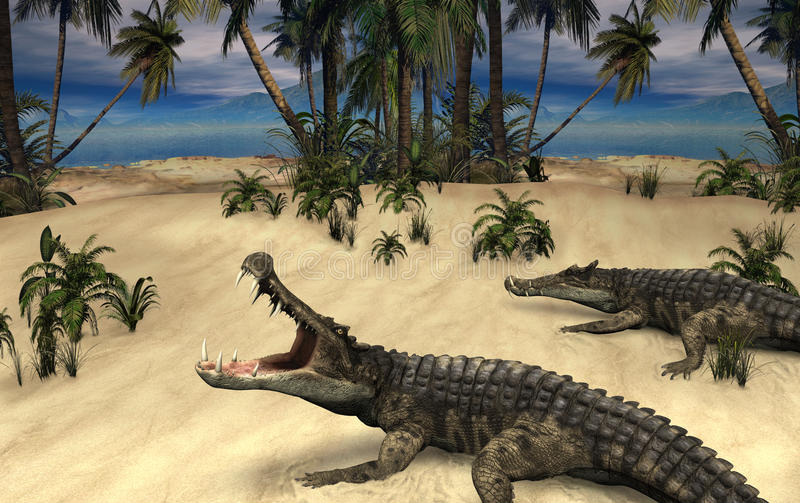 Kaprosuchus - Prehistoric Crocodiles vector illustration