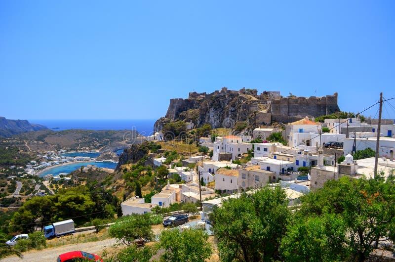 The Kapsali bay and the castle of Kithera island. stock photography