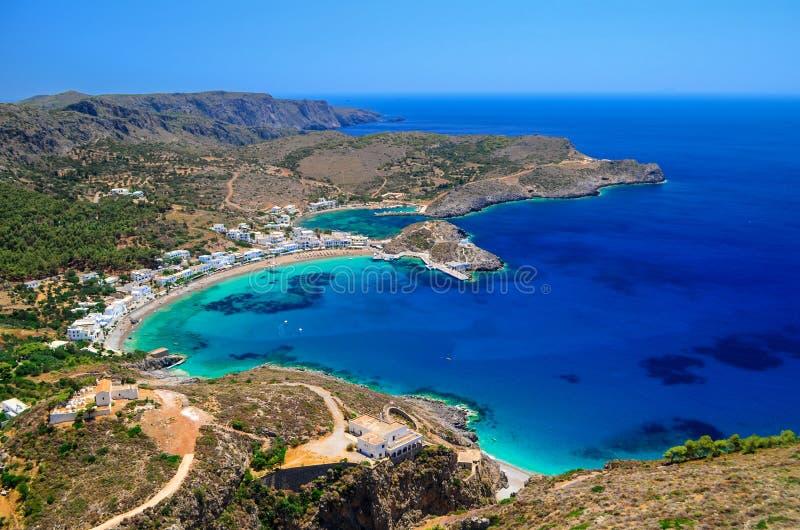 Kapsalidorp bij Kithera-eiland in Griekenland stock foto's