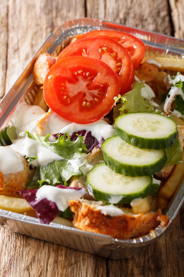 Kapsalon dai Paesi Bassi: le patate fritte hanno completato con lo shawarma fotografia stock