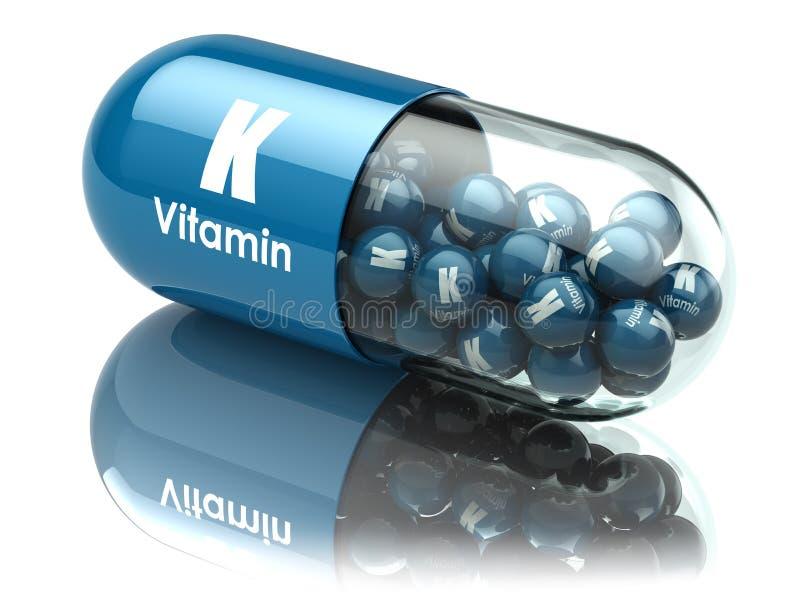 Kapsel eller preventivpiller för vitamin K dietary supplements royaltyfri illustrationer