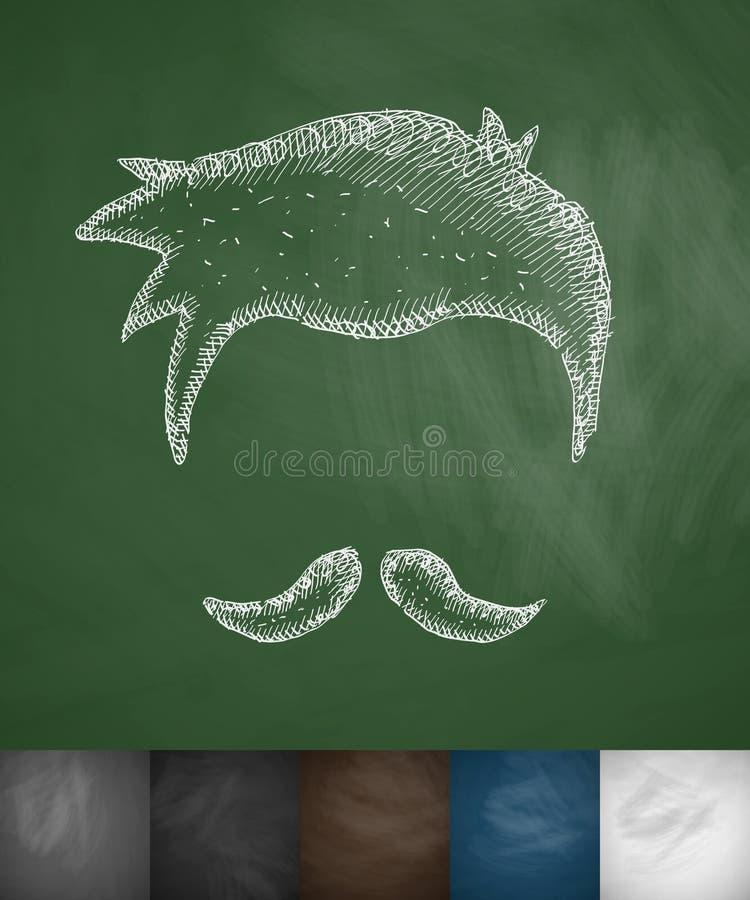 Kapsel en snorpictogram stock illustratie