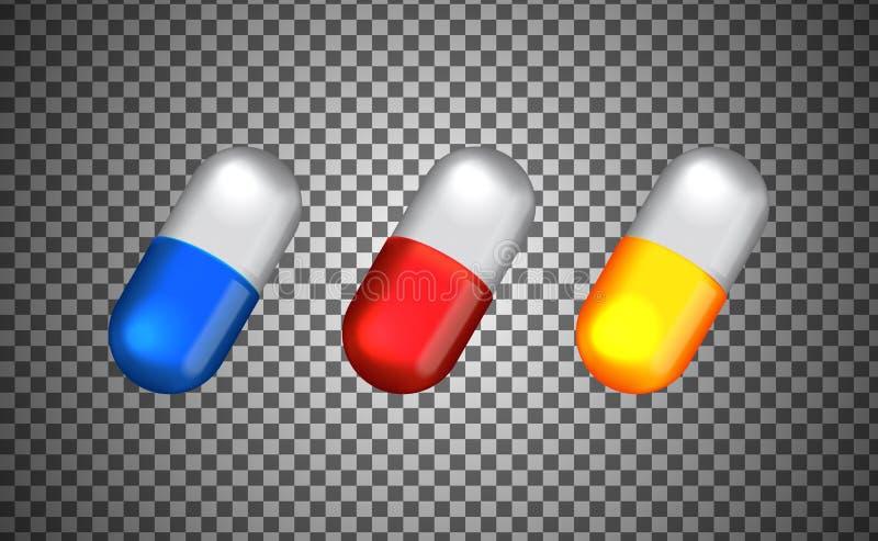kapsel för illustration 3D med blå, röd gul färg för läkarundersökningen, hälsovård, apotek vektor illustrationer