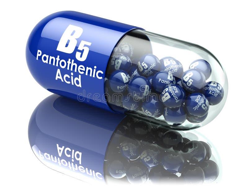 Kapsel för vitamin B5 Preventivpiller med pantothenic syra vektor illustrationer