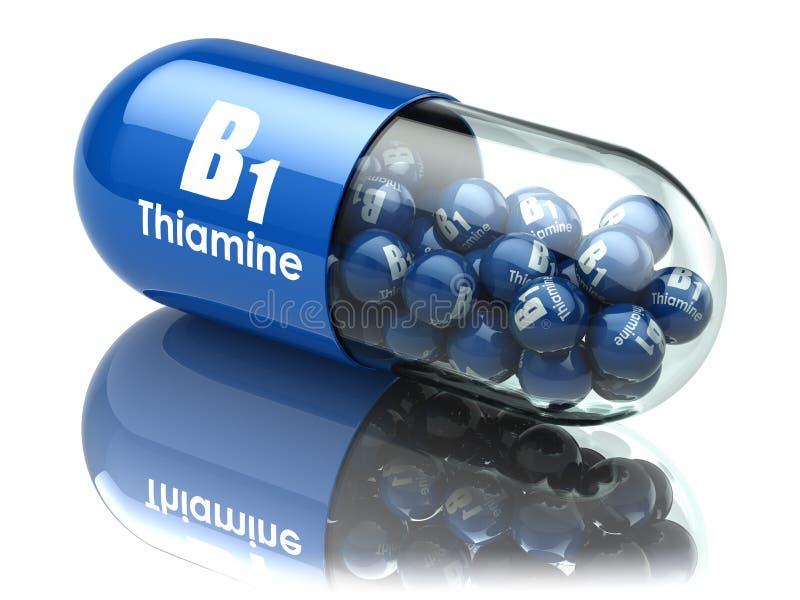 Kapsel för vitamin B1 Preventivpiller med thiamine dietary supplements vektor illustrationer