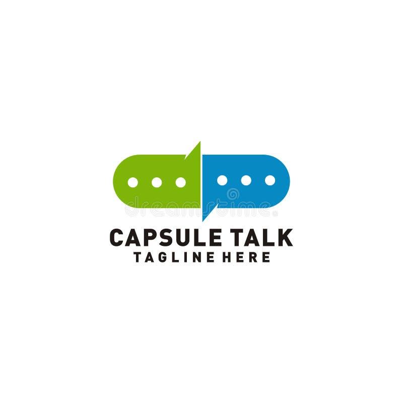 Kapsel-Gesprächslogo medizinisch oder Illustration des medizinischen Beraters lizenzfreie abbildung