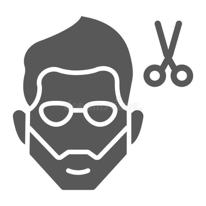Kapsel glyph pictogram, kapper en kapsel, gebaard gezichtsteken, vectorafbeeldingen, een stevig patroon op een witte achtergrond vector illustratie