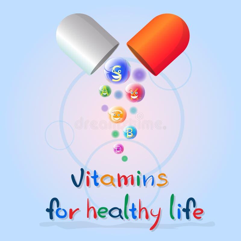 Kapsel med begrepp för beståndsdel för kemi för näring för liv för närande baner för mineraler för vitaminer färgrikt sunt royaltyfri illustrationer