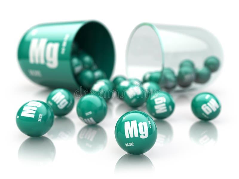 Kapsel med magnesiumMg-beståndsdelen dietary supplements Vitami stock illustrationer