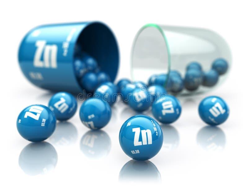 Kapsel med zinkZnbeståndsdelen dietary supplements Vitaminlock royaltyfri illustrationer