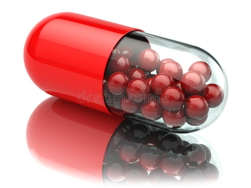 Kapsel oder Pille auf Weiß Abschluss oben MEDIZINISCHES Konzept stock abbildung