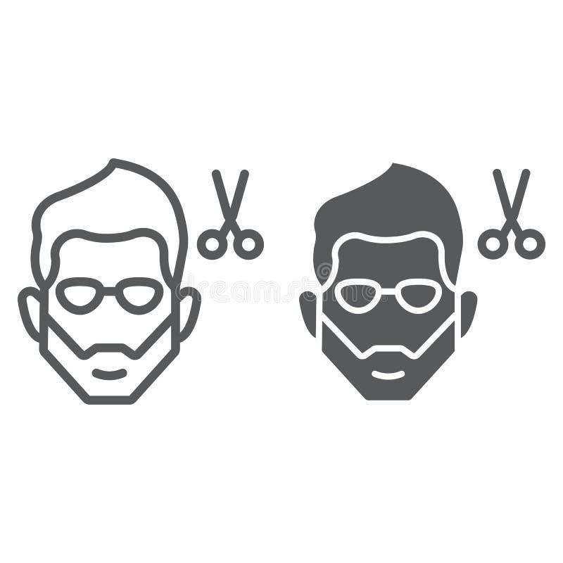 Kapsellijn en glyph pictogram, kapper en kapsel, gebaard gezichtsteken, vectorafbeeldingen, een lineair patroon op een wit stock illustratie