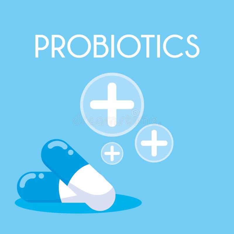 Kapselmedizin probiotics Ikone stock abbildung