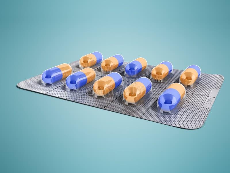 Kapseln in einer Platte von zehn Stücken 3d übertragen auf einem blauen Hintergrund stock abbildung