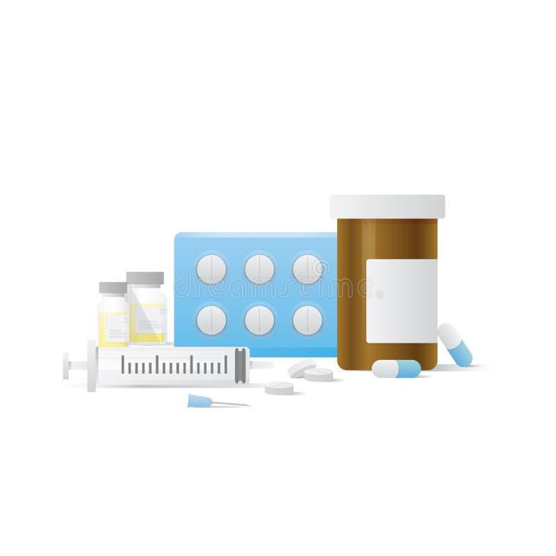 Kapseln Sie Flaschen- und Pillenmedizinplatte und Düsennadelkranken ein lizenzfreie abbildung