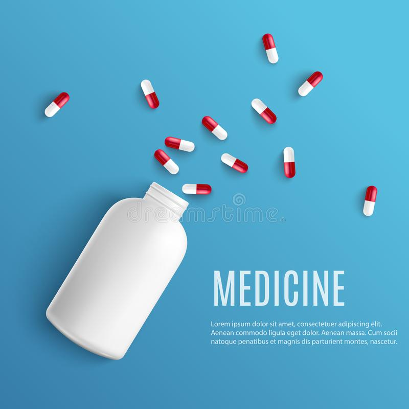 Kapselpillen, die aus weißer leerer Flasche in der realistischen Art auf blauem Hintergrund mit Kopienraum heraus gießen lizenzfreie abbildung