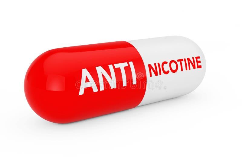 Kapselpreventivpilleren med anti-nikotin suckar framförande 3d royaltyfri illustrationer