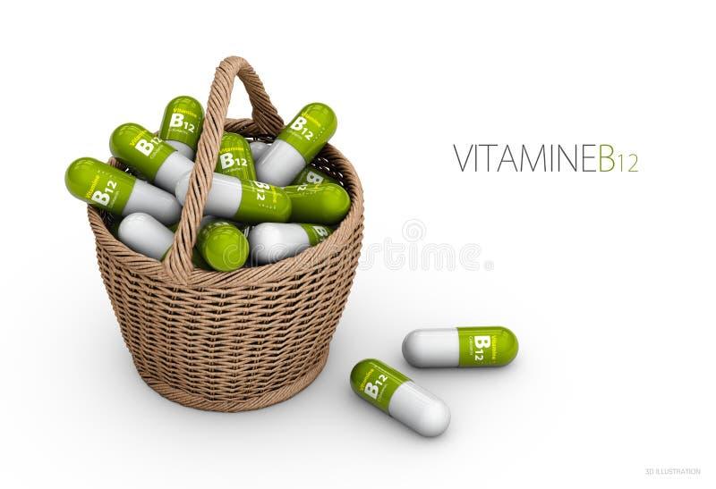 Kapslar för vitamin B12 i korgen dietary supplements illustration 3d vektor illustrationer
