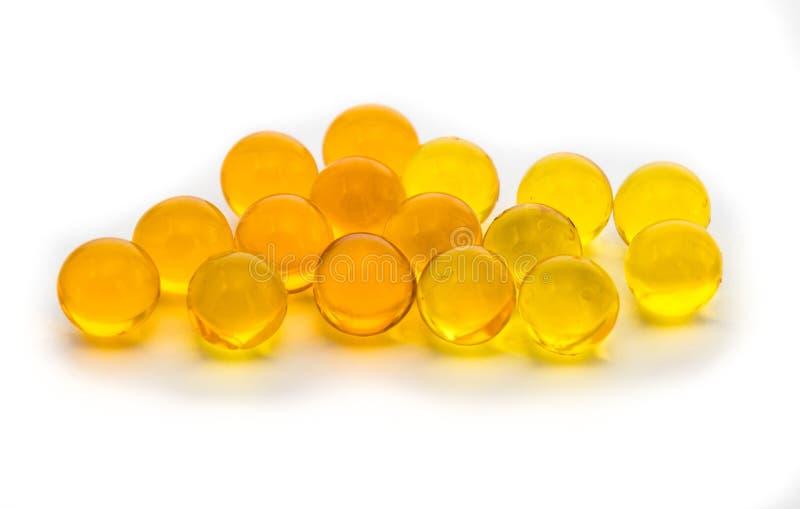 Kapsuł pigułki zawiera leka, rybi olej fotografia stock