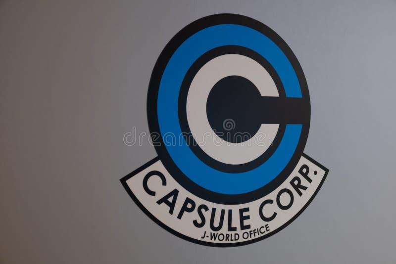 Kapsuły Corp logo smoka Balowy super w ścianie na światu parku tematycznym w Toshima okręgu zdjęcia royalty free