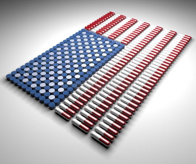 Kapsuły i pigułki w formie flaga amerykańskiej royalty ilustracja