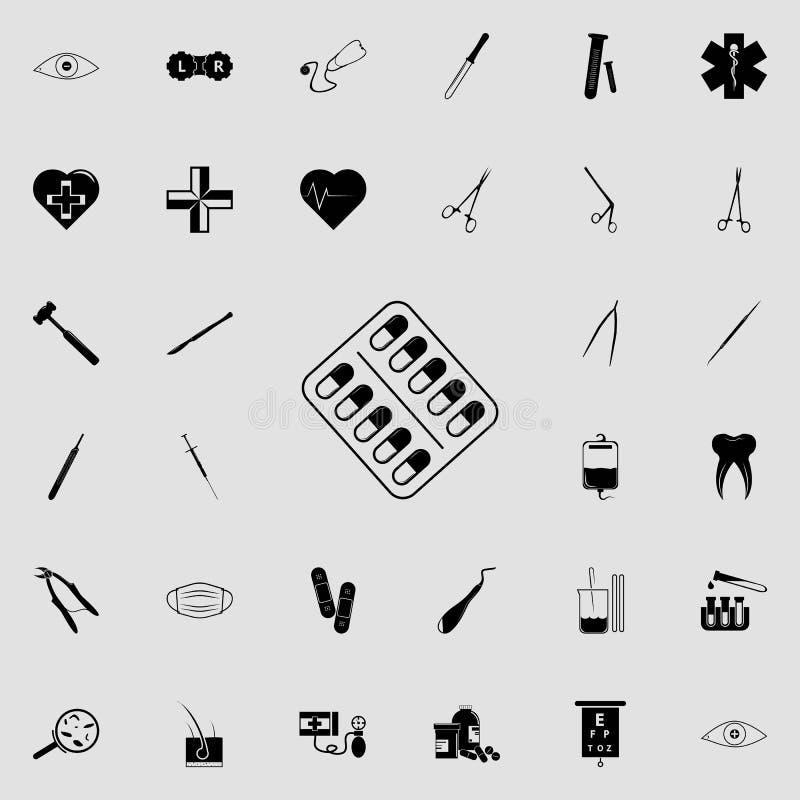 Kapsuły w kapsuły ikonie Medycyn ikon ogólnoludzki ustawiający dla sieci i wiszącej ozdoby ilustracja wektor