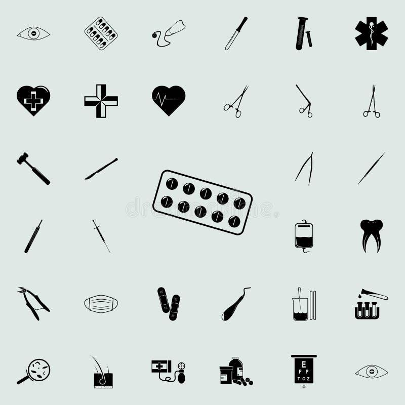 Kapsuły w kapsuły ikonie Medycyn ikon ogólnoludzki ustawiający dla sieci i wiszącej ozdoby ilustracji