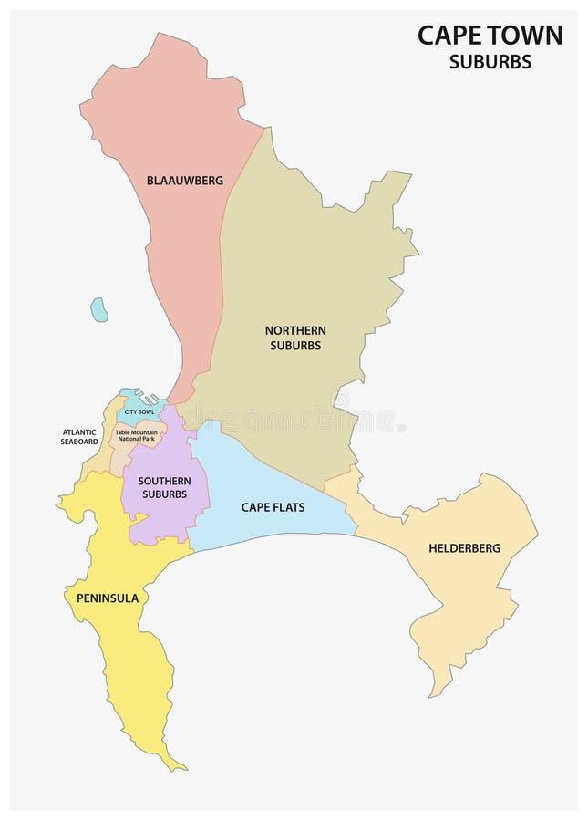 Kapsztad przedmieścia wektorowa mapa