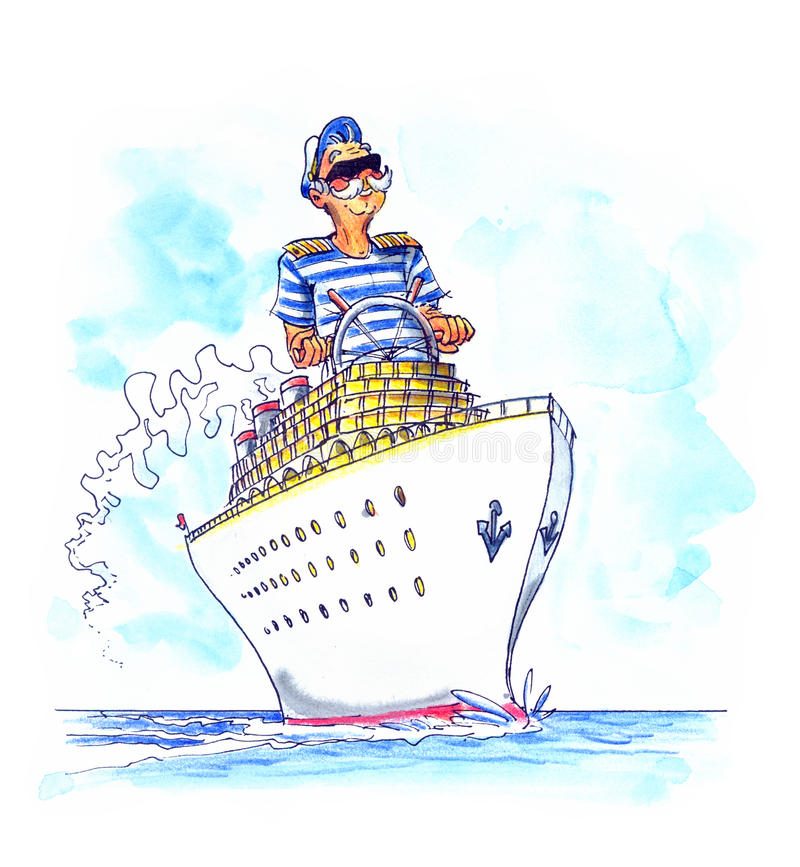 Kaptain on the big ship. Kaptain on the big crousing ship stock illustration