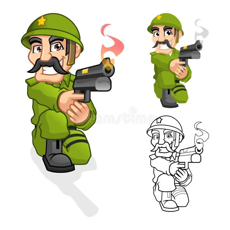 Kapten Army Cartoon Character som siktar en handeldvapen med forsen, poserar vektor illustrationer