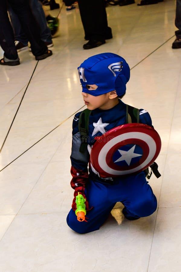 Kapten cosplay Amerika. royaltyfri fotografi
