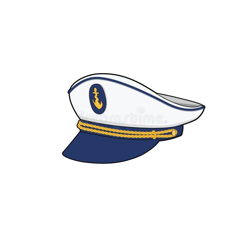 Kapten hat Kaptenen för sjöstyrkor uniform för fartygsbesättning Vektorillustration stock illustrationer