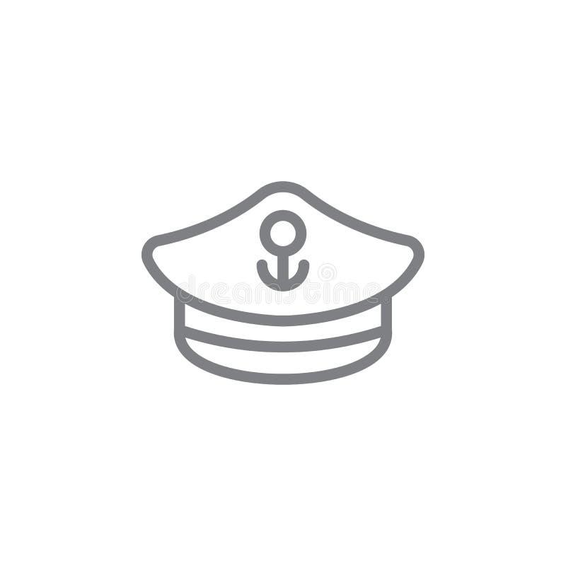 Kapten, hissikonen Element på semestersikon på strand Ikon för tunn linje för webbplatsdesign och -utveckling, apputveckling Prem stock illustrationer