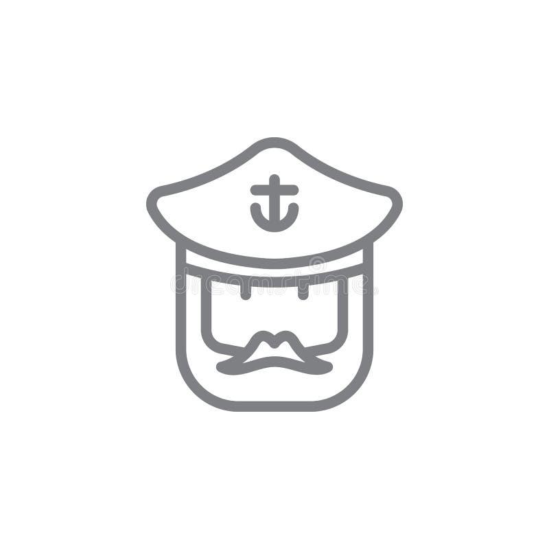 Kapten-ikon Element på semestersikon på strand Ikon för tunn linje för webbplatsdesign och -utveckling, apputveckling Premium-iko stock illustrationer